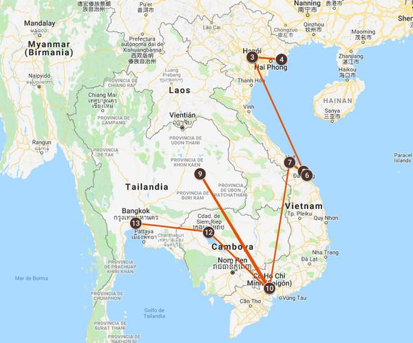 Mapa del viaje a Vietnam y Camboya