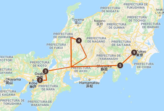 Mapa del viaje a Japón de Chelo y su familia