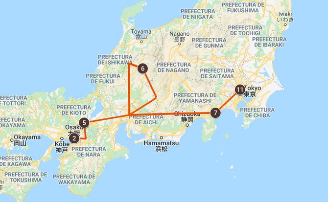 Mapa del circuito por Japón