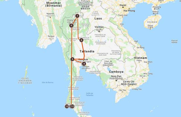 Mapa del viaje a Tailandia, triángulo del oro y playas de Krabi